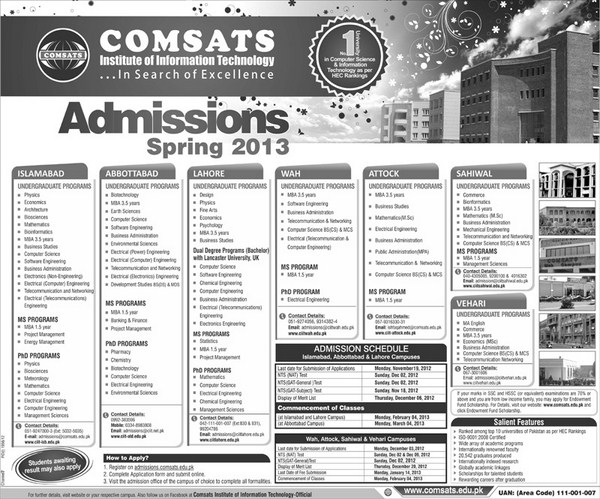 COMSATS Spring Admissions 2013 001