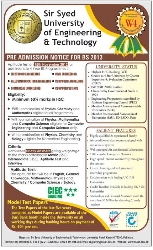 Sir Syed Engineering University Admission Entry Test 2013 001