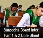 Picture: BISE Sargodha Board Inter Part 1 and 2 Date Sheet 2014