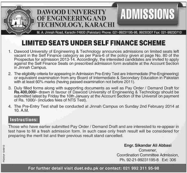 Dawood Engineering University Karachi Admissions 2014